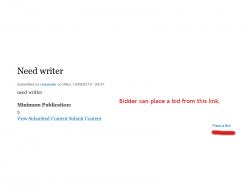 Bidder can place a bid on content